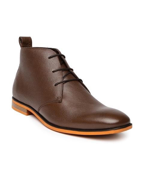 Bata Men Brown Leather Semiformal Shoes