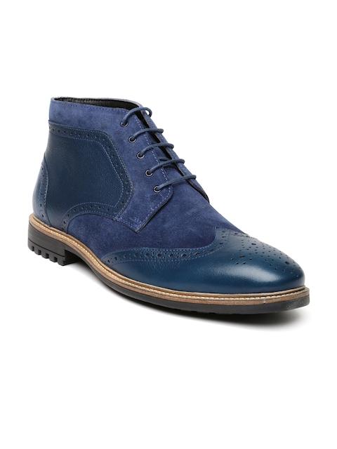 Bata Men Blue Leather Boots