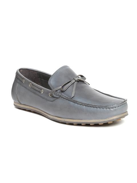 Bata Men Grey Leather Boat Shoes