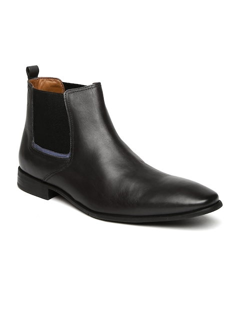 Hush Puppies Men Black High-Top Chelsea Boots