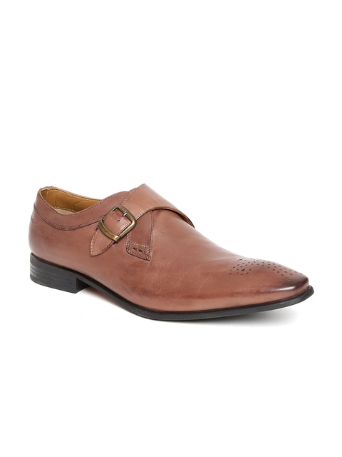 Hush Puppies Men Brown Leather Monks