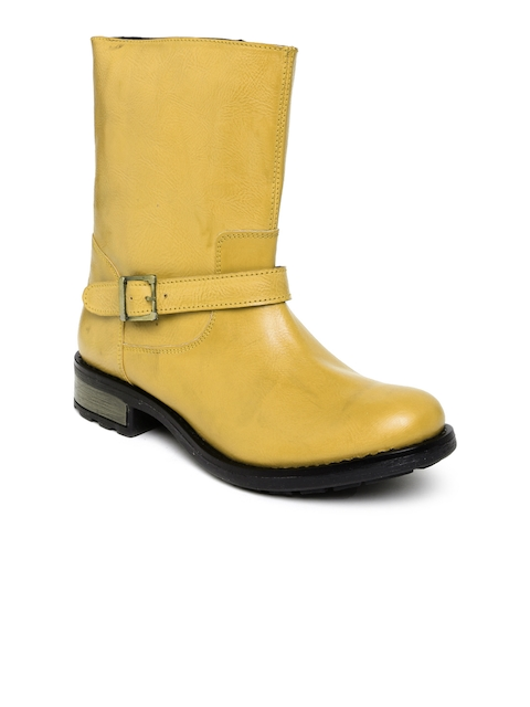 Arden by Knotty Derby Women Mustard Yellow Boots  available at myntra for Rs.746
