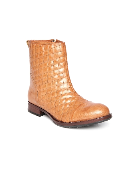 Arden by Knotty Derby Women Tan Brown Quilted Boots  available at myntra for Rs.746