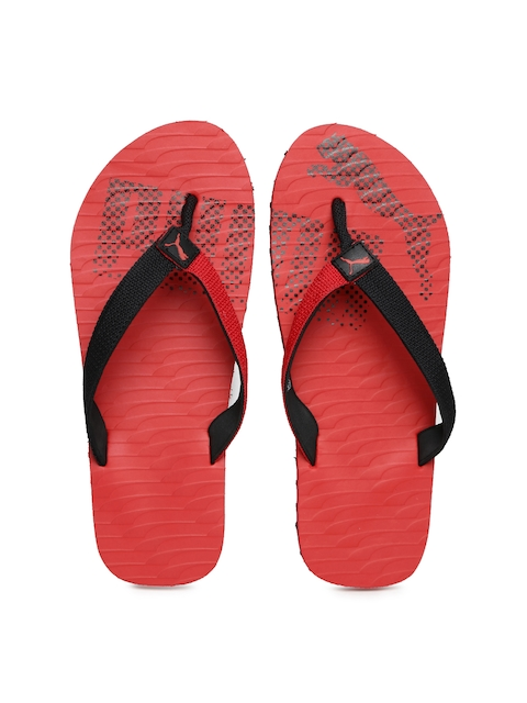 PUMA Unisex Red & Black Miami Flip-Flops
