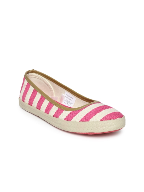 Mast & Harbour Women Cream-Coloured & Pink Striped Flat Shoes