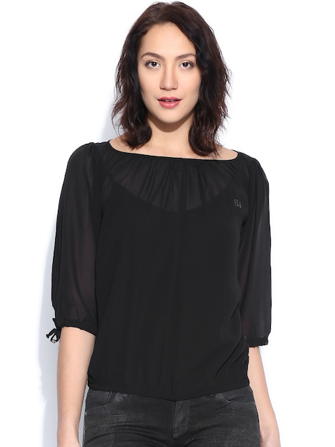 SPYKAR Black Sheer Top