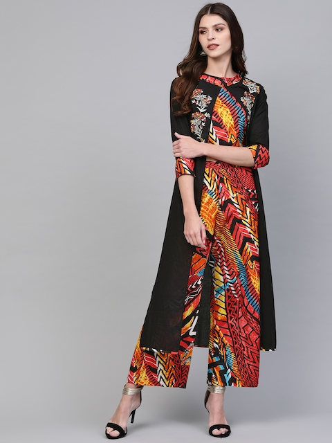 Pannkh Women Black & Red Printed Crop Top with Palazzos & Long Shrug