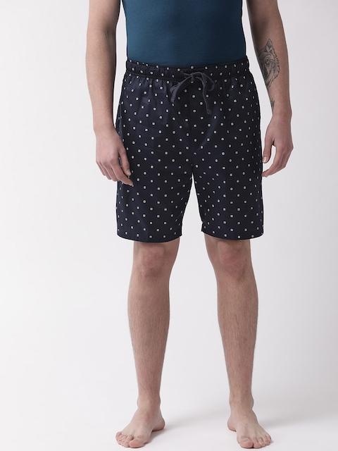Marks & Spencer Men Navy Blue & White Printed Lounge Shorts