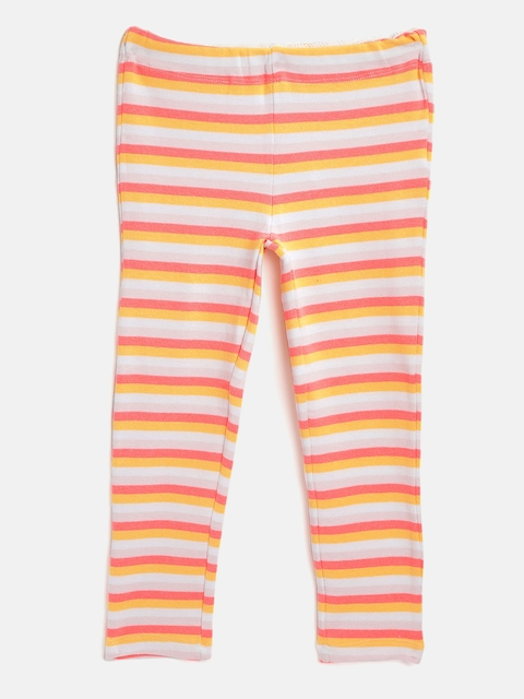 Cherry Crumble Girls Off-White & Coral Orange Striped Winter Leggings