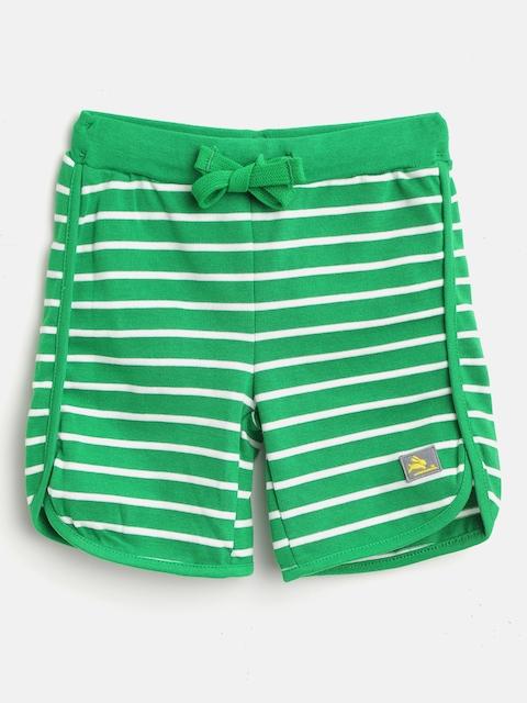 Cherry Crumble Kids Green & White Striped Regular Fit Shorts