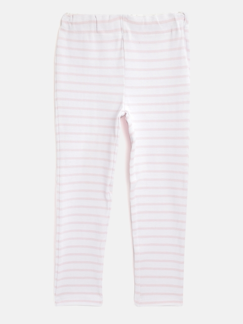 Cherry Crumble Girls White & Pink Striped Winter Leggings