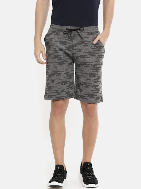 Proline Active Men Grey & Black Printed Slim Fit Regular Shorts