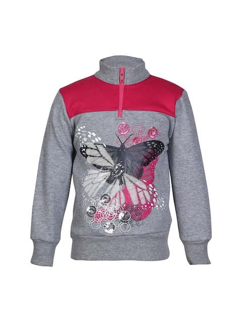 cool quotient Girls Grey Printed Sweatshirt