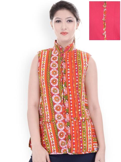 Jaipur Kurti Multicoloured & Pink Printed Reversible Sleeveless Jacket