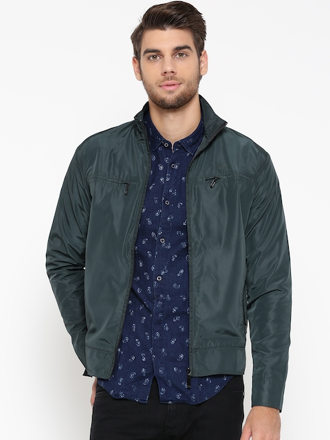 ColorPlus Men Green Solid Tailored Jacket