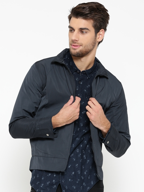 ColorPlus Men Navy Solid Tailored Jacket