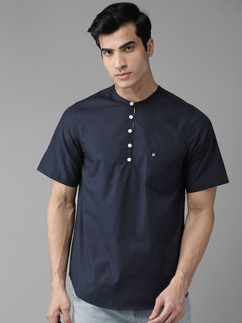Hubberholme Men Navy Blue Regular Fit Solid Casual Shirt