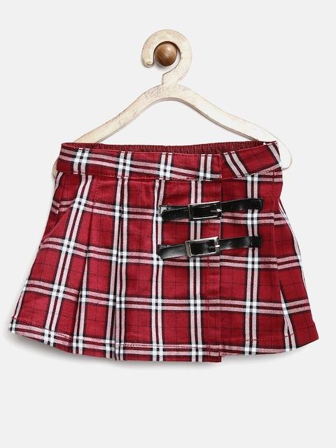 GJ Unltd by Gini & Jony Girls Red Checked Wrap Skirt