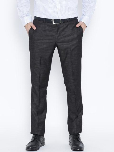 Blackberrys Charcoal Grey Sharp Fit Formal Trousers