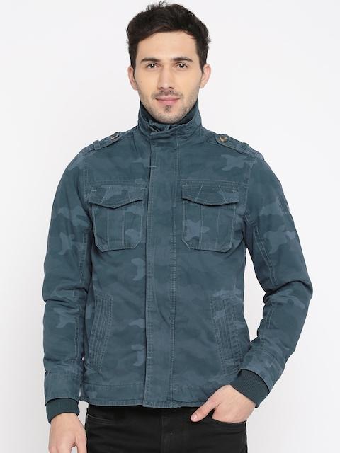 Allen Solly Men Blue Printed Padded Jacket