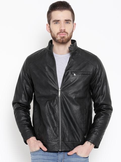 Allen Solly Black Faux Leather Biker Jacket
