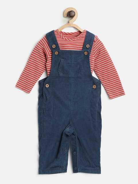 Marks & Spencer Kids Red & Navy Striped Bodysuit with Dungarees