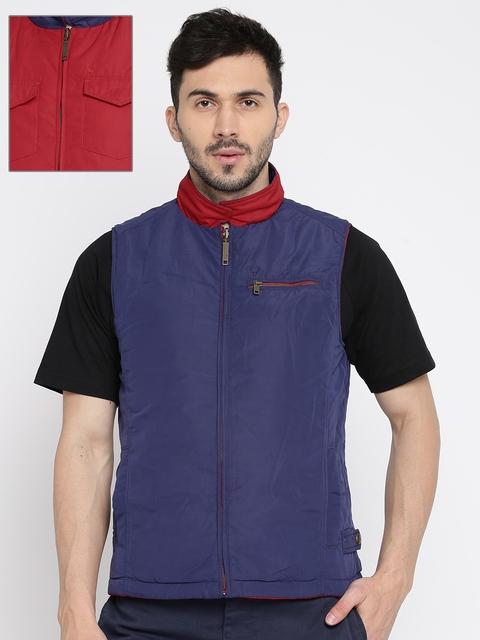 Allen Solly Men Red Solid Reversible Puffer Jacket