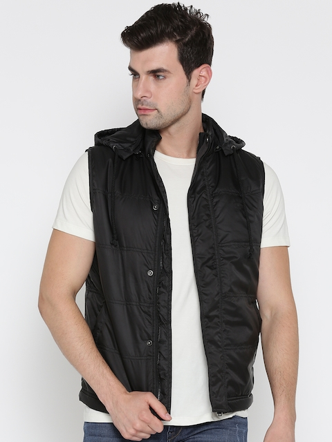 Allen Solly Men Black Solid Padded Jacket with Detachable Hood
