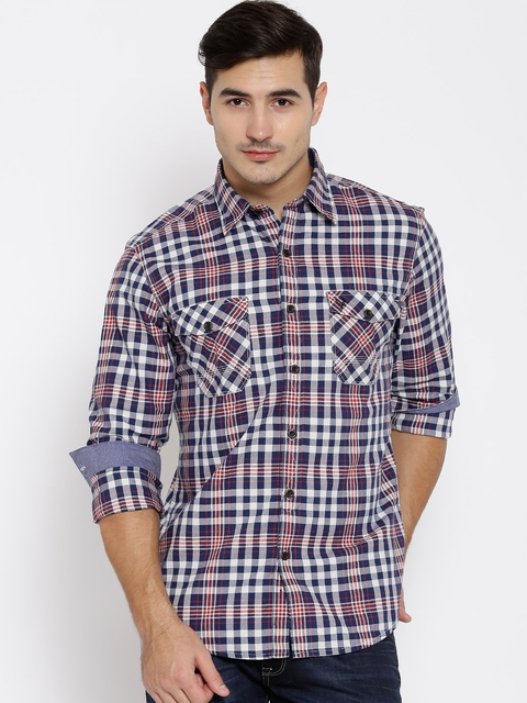Allen Solly Navy Checked Custom Fit Casual Shirt