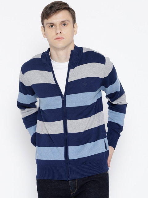 Allen Solly Men Blue & Grey Melange Striped Cardigan