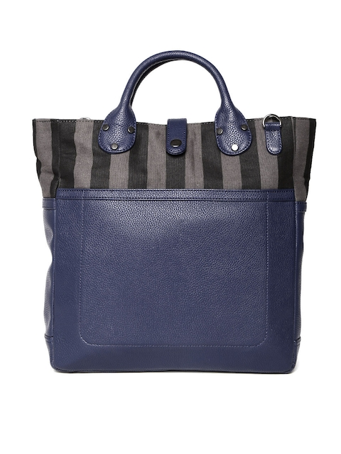 Gauge Machine Navy Striped Leather Handbag