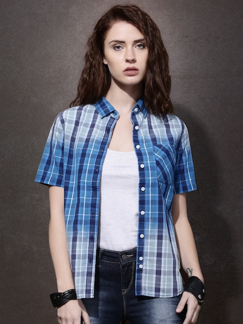 Roadster Women Navy Blue Regular Fit Checked Casual Shirt