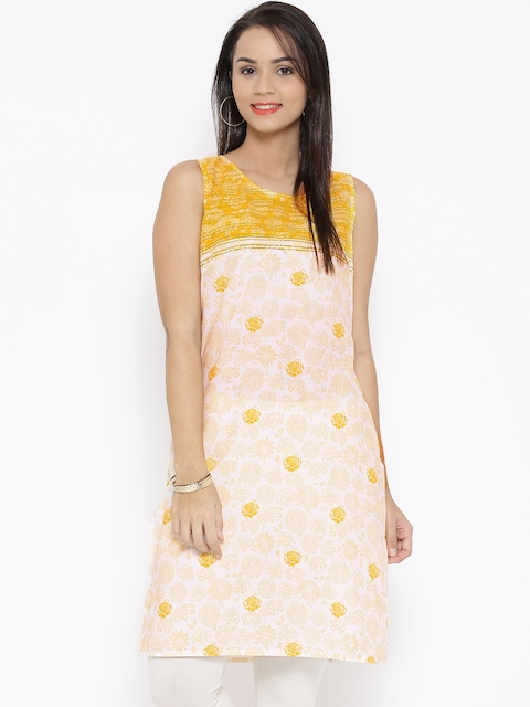 Aurelia Off-White & Yellow Floral Print Kurta  available at myntra for Rs.449