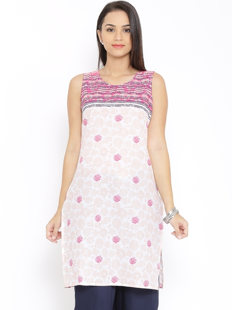 Aurelia Off-White & Pink Floral Print Kurta  available at myntra for Rs.389