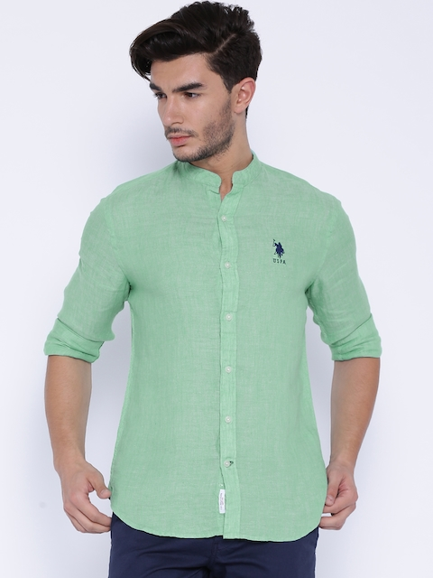 U.S. Polo Assn. Green Linen Tailored Fit Casual Shirt