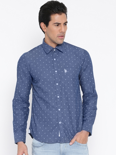 U.S. Polo Assn. Blue Printed Tailored Fit Casual Shirt