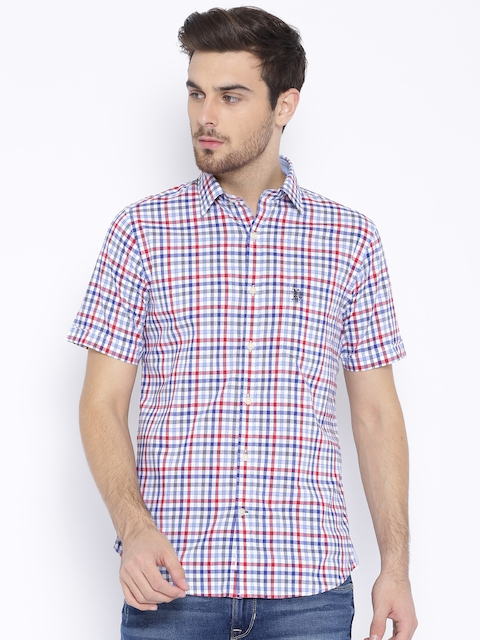 U.S. Polo Assn. Red & Blue Checked Tailored Fit Casual Shirt