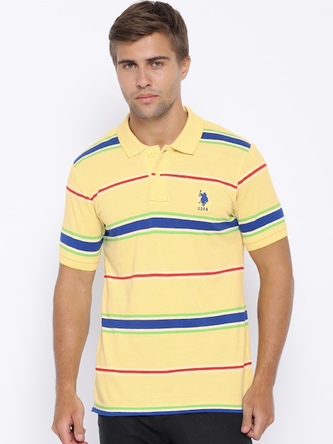 U.S. Polo Assn. Yellow Striped Polo T-shirt