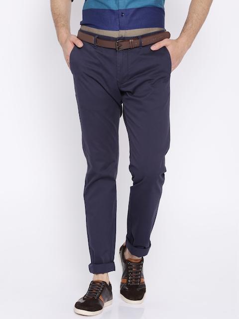 Indian Terrain Blue Brooklyn Slim Fit Trousers