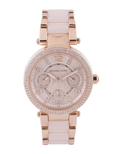 Michael Kors Women Dusty Pink Stone-Studded Dial Watch 6110I