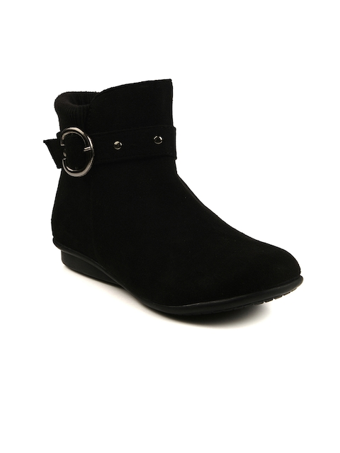 Bruno Manetti Women Black Suede Boots