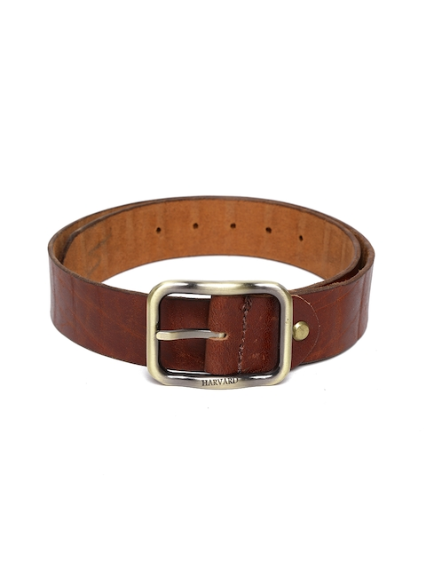 Harvard Men Brown Textured Genuine Leather Belt