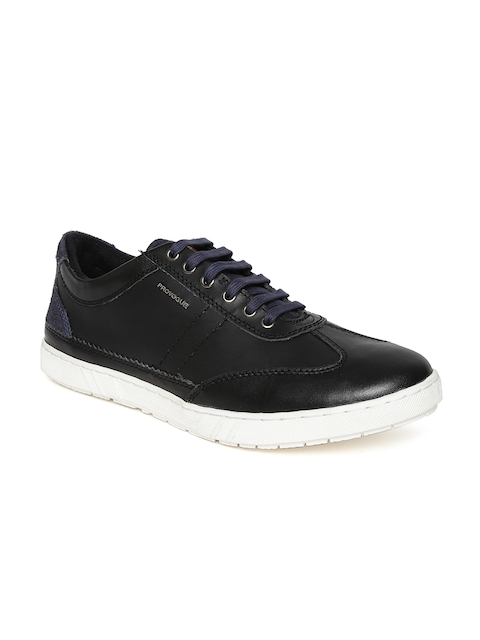 Provogue Men Black Leather Sneakers