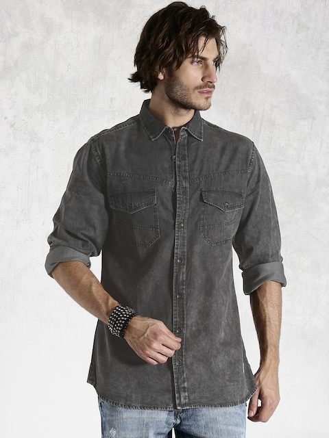 Roadster Charcoal Grey Washed Slim Fit Casual Shirt