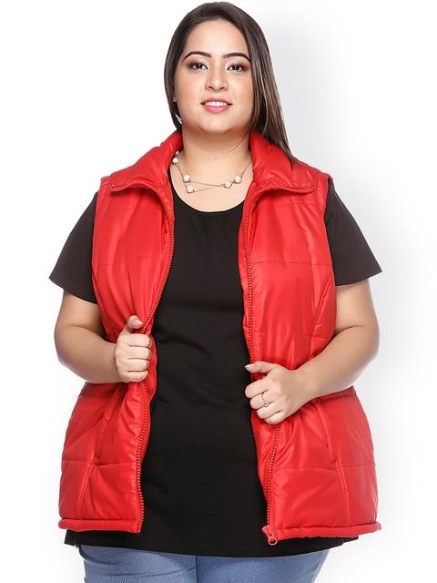 plusS Red Sleeveless Jacket