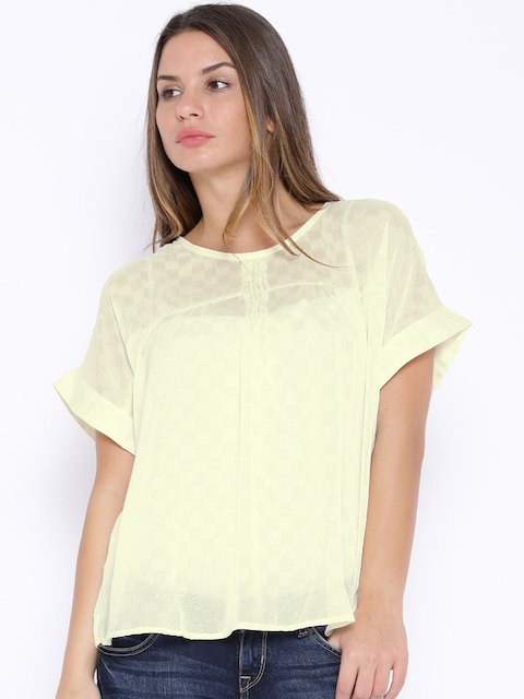 Tokyo Talkies Off-White Sheer Boxy Polyester Top