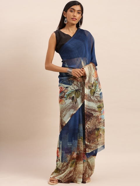 KALINI Navy Blue & Off-White Pure Georgette Printed Saree