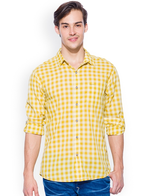 Mufti Yellow Checked Slim Fit Casual Shirt