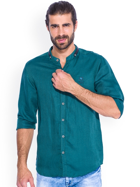 Mufti Green Slim Fit Casual Shirt