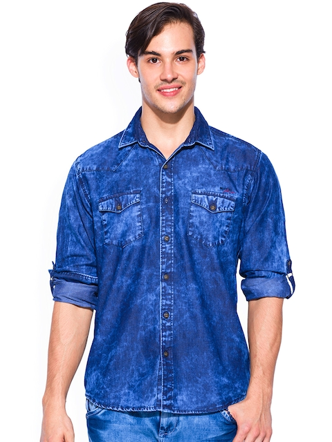 Mufti Blue Slim Fit Casual Shirt